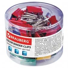 Зажимы для бумаг BRAUBERG, КОМПЛЕКТ 40 шт., 19 мм, на 60 листов, цветные, в пластиковом цилиндре, 221127