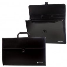 Портфель пластиковый BRAUBERG 'Президент', А4 390х260х40 мм, 3 отделения, с окантовкой, черный, 226022