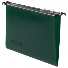 Подвесные папки А4 350х245 мм, до 80 листов, КОМПЛЕКТ 5 шт., пластик, зеленые, BRAUBERG , 231799