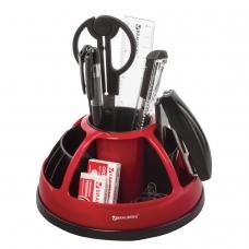 Канцелярский набор BRAUBERG 'Микс', 10 предметов, вращающаяся конструкция, черно-красный, блистер, 231929