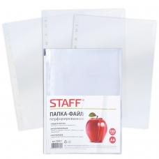 Папки-файлы перфорированные, А4, STAFF, комплект 100 шт., гладкие, 'Яблоко', 30 мкм, 224917