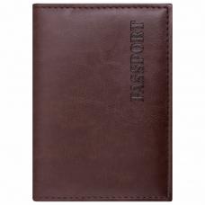 Обложка для паспорта STAFF, экокожа, мягкая изолоновая вставка, 'PASSPORT', коричневая, 237184