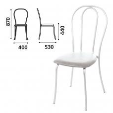 Стул для столовых, кафе, дома 'Вереск', белый каркас, кожзам светло-серый, СМ7/6-05 К-05