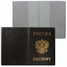 Обложка для паспорта с гербом, ПВХ, черная, ДПС, 2203.В-107
