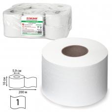 Бумага туалетная ЛАЙМА КЛАССИК Система T2 1-слойная 12 рулонов по 200 метров, цвет белый, 126093