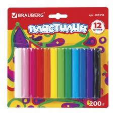 Пластилин классический BRAUBERG 12 цветов, 200 г, ВЫСШЕЕ КАЧЕСТВО, блистер, 103350