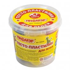 Пластилин на растительной основе тесто для лепки ПИФАГОР, 4 цвета, 240 г, пластиковый стакан, 104543