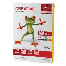 Бумага CREATIVE color Креатив, А4, 80 г/м2, 100 л., интенсив желтая, БИpr-100ж