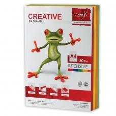 Бумага CREATIVE color Креатив, А4, 80 г/м2, 250 л. 5 цв. х 50 л., цветная интенсив, БИpr-250r