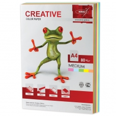 Бумага CREATIVE color Креатив, А4, 80 г/м2, 250 л. 5 цв. х 50 л., цветная медиум, БОpr-250r