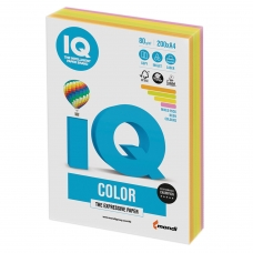 Бумага IQ color, А4, 80 г/м2, 200 л. 4 цв. x 50 л., цветная неон RB04