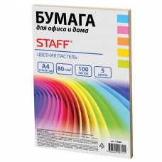 Бумага цветная STAFF color, А4, 80 г/м2, 100 л., микс 5 цв. х 20 л., пастель, для офиса и дома, 110889