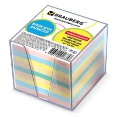 Блок для записей BRAUBERG в подставке прозрачной, куб 9х9х9 см, цветной, 122225