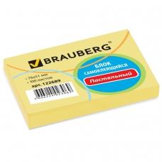 Блок самоклеящийся стикер BRAUBERG, 76х51 мм, 100 л., желтый, 122689