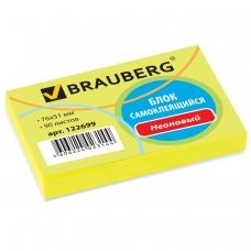 Блок самоклеящийся стикер, BRAUBERG, НЕОНОВЫЙ, 76х51 мм, 90 л., желтый, 122699
