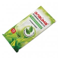 Салфетки влажные, 15 шт., ЛАЙМА, универсальные очищающие, с экстрактом зеленого чая, 125956