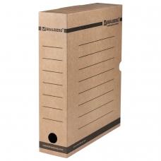 Короб архивный с клапаном, микрогофрокартон, 75 мм, до 700 листов, плотный, бурый, BRAUBERG, 126509