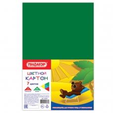 Картон цветной А4 немелованный, 7 листов 7 цветов, в пленке, ПИФАГОР, 200х283 мм, 127051
