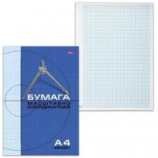Бумага масштабно-координатная HATBER, А4, 210х295 мм, голубая, на скрепке, 16 л., 16Бм4 02284, N002704