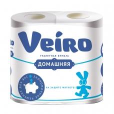 Бумага туалетная бытовая, спайка 4 шт., 2-х слойная 4х15 м, VEIRO 'Домашняя', белая, 1с24