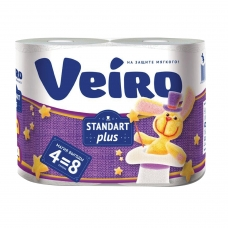 Бумага туалетная бытовая, спайка 4 шт., 2-х слойная 4х30 м, VEIRO Standart Plus, белая, 3с24