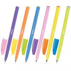 Ручка шариковая масляная ПИФАГОР, СИНЯЯ, безопасный корпус ассорти, узел 0,6 мм, линия письма 0,3 мм, OBP107