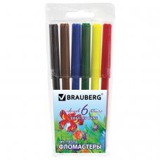 Фломастеры BRAUBERG 'Wonderful butterfly', 6 цветов, вентилируемый колпачок, пластиковая упаковка, увеличенный срок службы, 150521