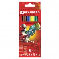 Фломастеры BRAUBERG 'Star Patrol', 6 цветов, вентилируемый колпачок, картонная упаковка, увеличенный срок службы, 150543