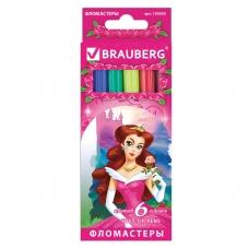 Фломастеры BRAUBERG 'Rose Angel', 6 цветов, вентилируемый колпачок, картонная упаковка, увеличенный срок службы, 150555