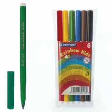 Фломастеры CENTROPEN 'Rainbow Kids', 6 цветов, смываемые, эргономичные, вентилируемый колпачок, 7550/06