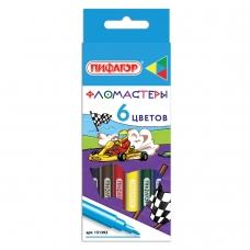 Фломастеры ПИФАГОР 'Гонщики', 6 цветов, вентилируемый колпачок