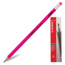 Карандаш чернографитный STABILO, 1 шт., 'Swano', HB, корпус неоновый розовый, с ластиком, заточенный, 4907/040HB