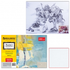 Холст на картоне с контуром BRAUBERG ART CLASSIC, 'Цветы', 30х40 см, грунтованный, 100% хлопок, 190625
