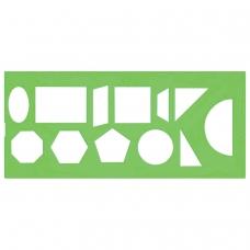 Трафарет СТАММ геометрических фигур, 12 элементов, зеленый, ТТ11