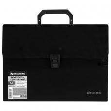 Портфель пластиковый BRAUBERG, А4, 332х245х35 мм, диагональная фактура, 13 отделений, пластиковый индекс, черный, 221375