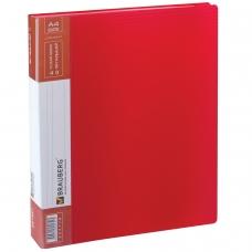 Папка 40 вкладышей BRAUBERG 'Contract', красная, вкладыши-антиблик, 0,7 мм, бизнес-класс, 221778