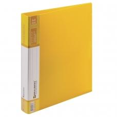 Папка на 2 кольцах BRAUBERG 'Contract', 35 мм, желтая, до 270 листов, 0,9 мм, 221795