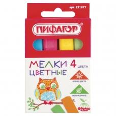 Мел цветной ПИФАГОР, набор 4 шт., квадратный, 221977
