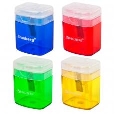 Точилка BRAUBERG 'OfficeBox', с контейнером и крышкой, прямоугольная, в упаковке с подвесом, ассорти, 222494