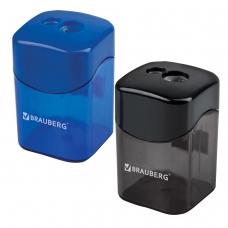Точилка BRAUBERG 'Win', с большим контейнером, прямоугольная, 2 отверстия, дисплей, ассорти черная, синяя, 222495