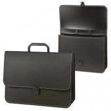 Портфель пластиковый BRAUBERG 'Консул', А4, 370х280х120 мм, 2 отделения, черный, 223079
