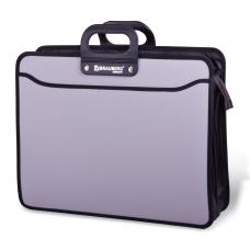 Портфель пластиковый BRAUBERG портфолио, А3, 470х380х130 мм, 3 отделения, на молнии, серый, 223080