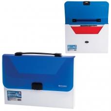 Портфель пластиковый BRAUBERG 'Income', А4, 350х235х35 мм, без отделений, белый/синий, 224150