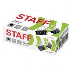 Зажимы для бумаг STAFF, комплект 12 шт., 25 мм, на 100 листов, черные, в картонной коробке, 224607