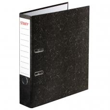 Папка-регистратор STAFF, с мраморным покрытием, 50 мм, без уголка, черный корешок, 224615