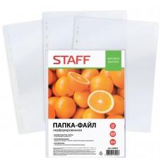 Папки-файлы перфорированные, А4, STAFF, комплект 100 шт., 'апельсиновая корка', 45 мкм, 226832