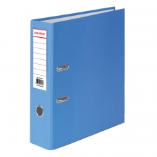 Папка-регистратор BRAUBERG с покрытием из ПВХ, 80 мм, с уголком, голубая удвоенный срок службы, 227197