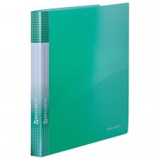 Папка на 2 кольцах с внутренним карманом BRAUBERG 'Диагональ', 25 мм, тонированная зеленая, до 170 листов, 0,7 мм, 227505