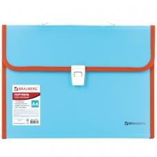 Портфель пластиковый BRAUBERG 'Joy', А4 330х245х35 мм, 13 отделений, с окантовкой, индексные ярлыки, бирюзовый, 227976