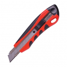 Нож универсальный 18 мм BRAUBERG, автофиксатор, резиновые вставки, + 2 лезвия, блистер, 230920